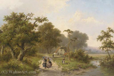 Elegant ladies strolling in the country by Hendrik Pieter Koekkoek