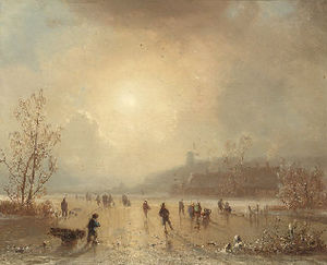 Hendrik Pieter Koekkoek - Skaters on a lake at dusk