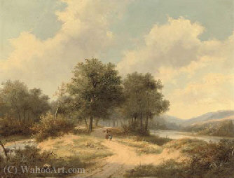 Woodgatherers on a sandy track by Hendrik Pieter Koekkoek