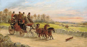 John Charles Maggs - A bristol to london mail coach with a hunt beyond