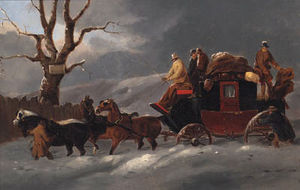 John Charles Maggs - A coach and four in a winter landscape; and a coach and four resting outside a tavern