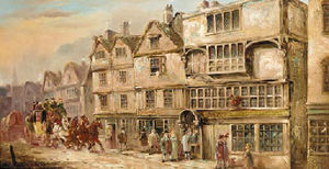 John Charles Maggs - A coach and four outside the cock tavern, bishopsgate street