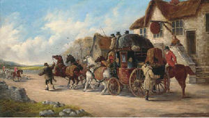 John Charles Maggs - A mail coach outside the old fox inn, a hunt beyond