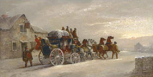 John Charles Maggs - The london to manchester mail coach outside the sun inn