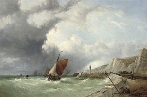 John James Wilson - A breezy day off the brittany coast