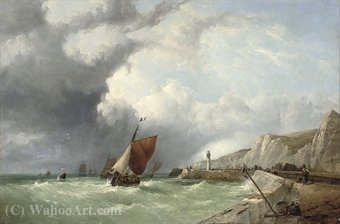 A breezy day off the brittany coast by John James Wilson (1785-1851)