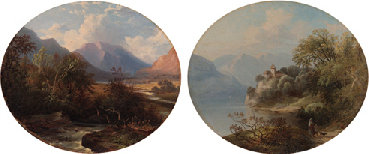 A mountain torrent; and a castle on a lake by John James Wilson (1785-1851) | Oil Painting | WahooArt.com
