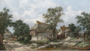 John James Wilson - Figures before a cottage,