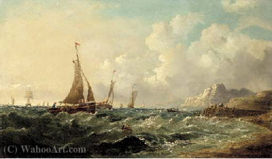 Fishing boats off a rocky coast by John James Wilson (1785-1851) | Museum Quality Reproductions | WahooArt.com