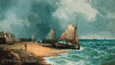 Fishing boats waiting to float out on the tide by John James Wilson (1785-1851) | Art Reproduction | WahooArt.com