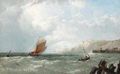 Order Museum Quality Reproductions : Off the south coast by John James Wilson (1785-1851) | WahooArt.com