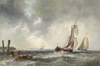 Order Famous Paintings Reproductions : Off to the fishing grounds by John James Wilson (1785-1851) | WahooArt.com