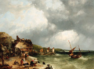 John James Wilson - On the coast at etretat (2)
