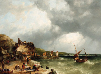 On the coast at etretat (2) by John James Wilson (1785-1851) | Museum Quality Reproductions | WahooArt.com