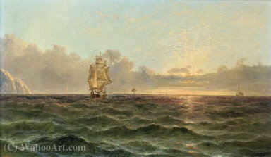 Running down the channel at dusk by John James Wilson (1785-1851) | Painting Copy | WahooArt.com