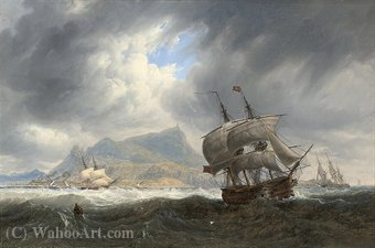 Shipping in a heavy swell off palermo by John James Wilson (1785-1851) | Museum Quality Reproductions | WahooArt.com