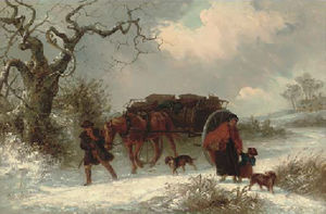 Thomas Smythe - A carrier with passengers parting in a winter landscape