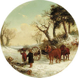 Thomas Smythe - Figures and horses in a snow covered landscape