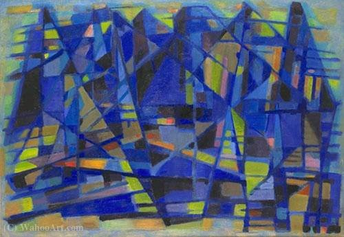 The blue port by Alfred Manessier (1911-1993) | Museum Quality Reproductions | WahooArt.com
