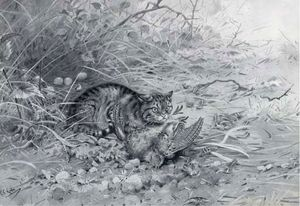 George Edward Lodge - A wild cat with it's kill