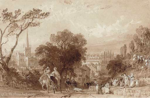 A busy darlington road with st. cuthbert's church in the distance by Thomas Allom (1804-1872, United Kingdom)