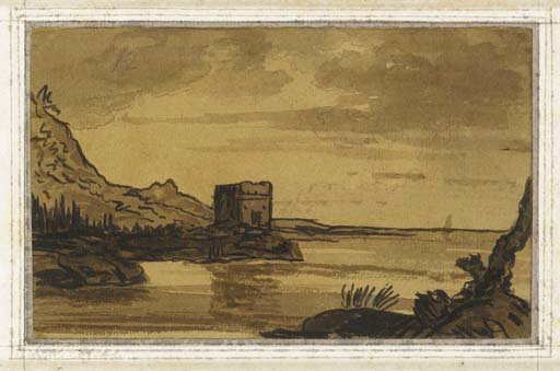 A coastal landscape with a ruined tower by Thomas Allom (1804-1872, United Kingdom)