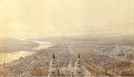An extensive view of london from st paul's cathedral, looking west by Thomas Allom (1804-1872, United Kingdom)