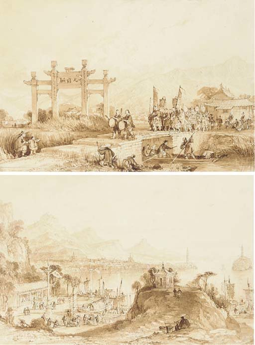 China - lake see-hoo, and temple of the thundering winds from the vale of tombs by Thomas Allom