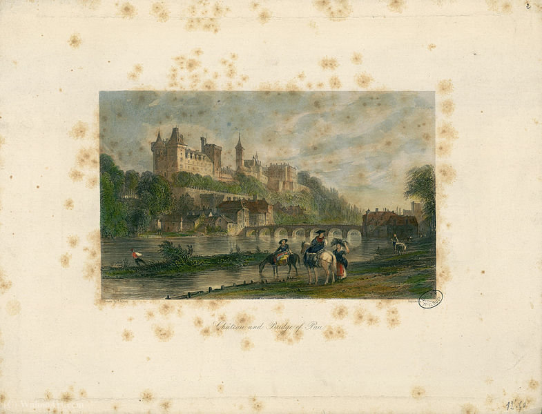 Château and bridge of Pau by Thomas Allom (1804-1872, United Kingdom)