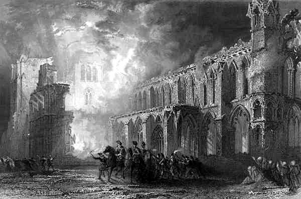 Destruction of Elgin Cathedral by Thomas Allom (1804-1872, United Kingdom)