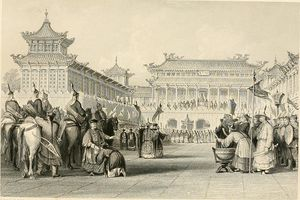 Thomas Allom - Emperor Taou-Kwang reviewing his guards