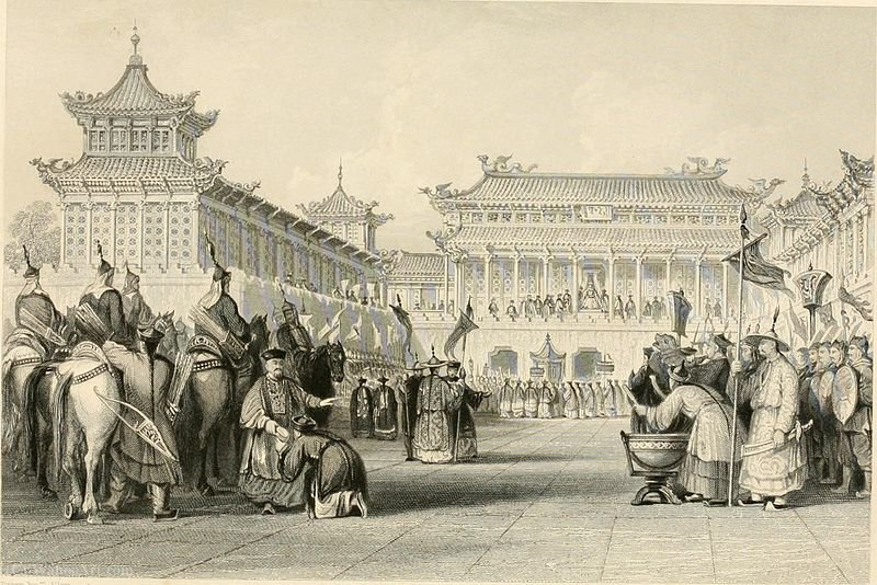 Emperor Taou-Kwang reviewing his guards by Thomas Allom