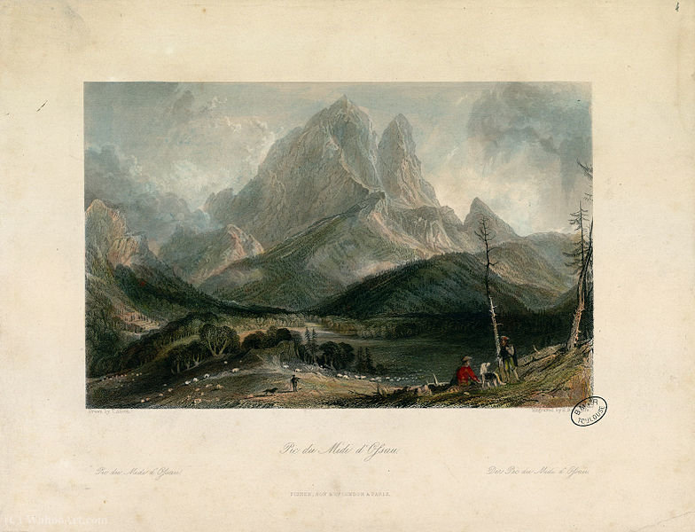 Pic du Midi d`Ossau by Thomas Allom (1804-1872, United Kingdom) | Museum Quality Reproductions | WahooArt.com
