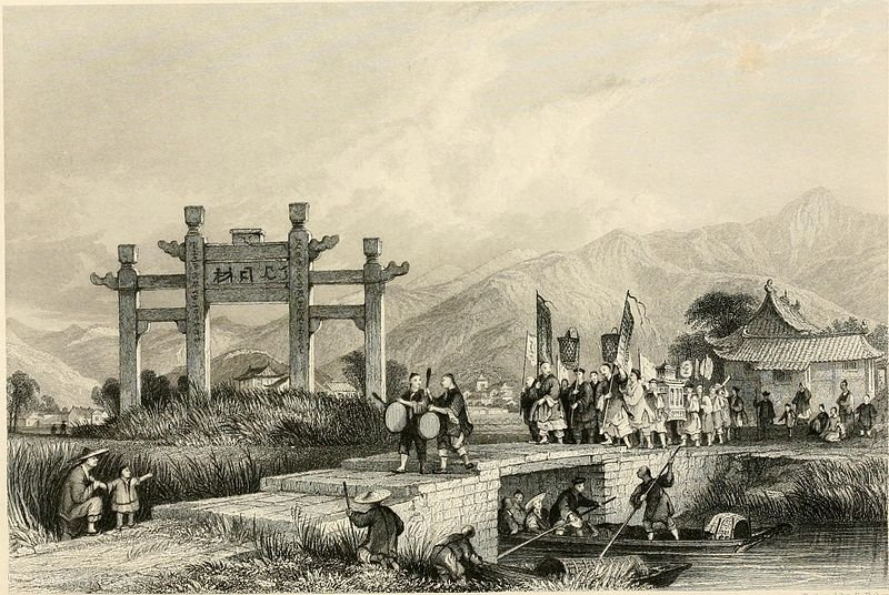 Scene in the Suburbs of Ting-hae by Thomas Allom (1804-1872, United Kingdom)