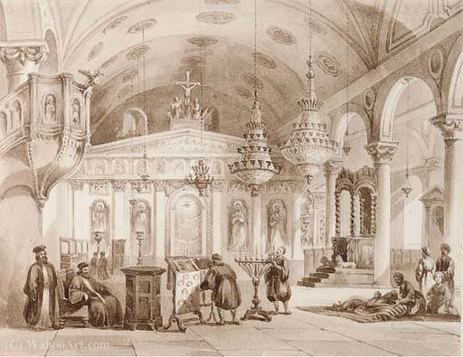 The greek church of baloukli near constantinople by Thomas Allom
