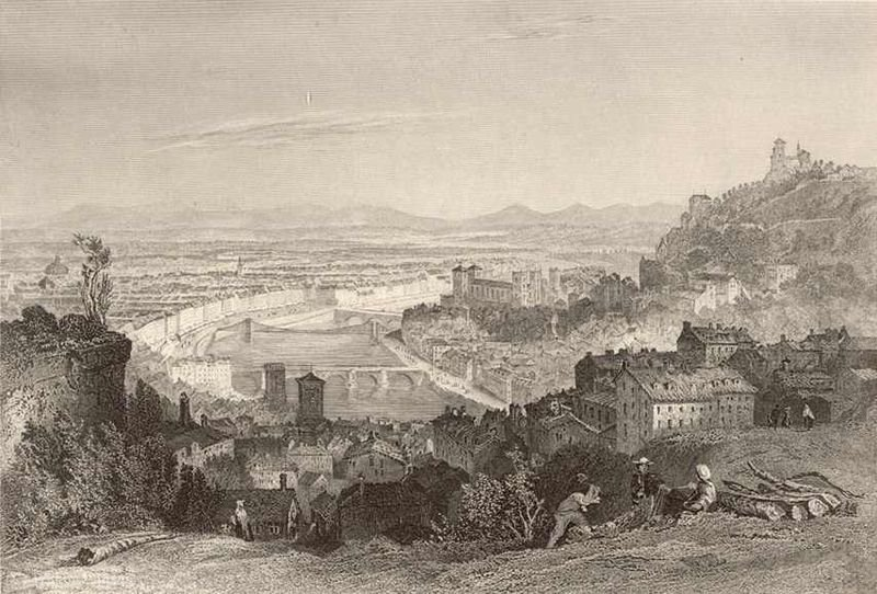 The hill of the Croix-Rousse. by Thomas Allom (1804-1872, United Kingdom)