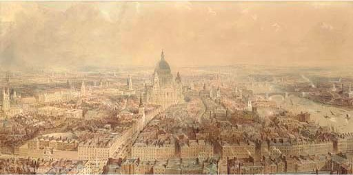 View of london from the steeple of st bride's church, fleet street looking towards st paul's cathedral by Thomas Allom (1804-1872, United Kingdom)
