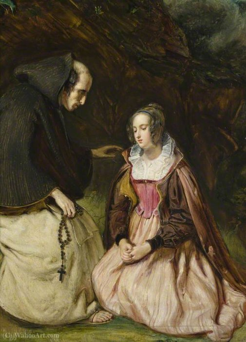 Catherine Glover and Father Clement by Thomas Duncan (1874-1966) | Museum Quality Reproductions | WahooArt.com