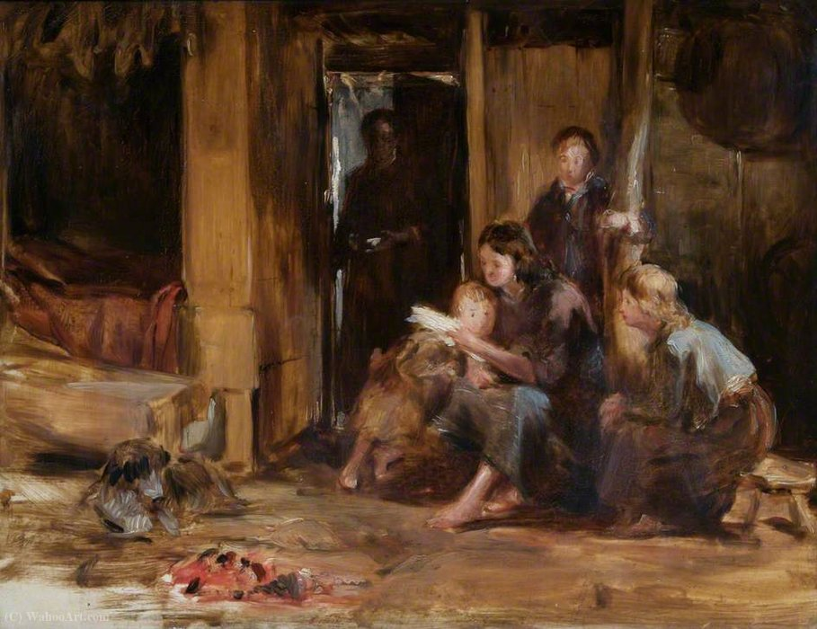 Interior of a Cottage with Figures by Thomas Duncan (1874-1966)
