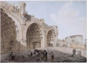 Abraham-Louis-Rodolphe Ducros - View in the Roman Forum