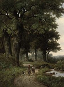 Hendrik Pieter Koekkoek - A walk in the forest