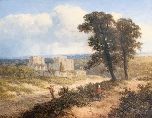 Edward H. Niemann - A castle in a summer landscape