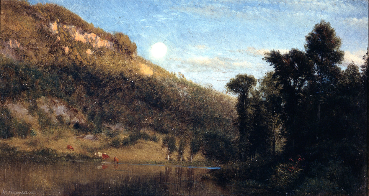 Berkshire foothills, full moon over meadowbrook by Aaron Draper Shattuck (1832-1928, United States) | Painting Copy | WahooArt.com