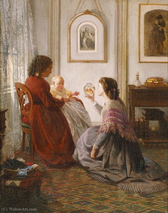 The Shattuck Family, with Grandmother, Mother and Baby William by Aaron Draper Shattuck (1832-1928, United States) | Oil Painting | WahooArt.com