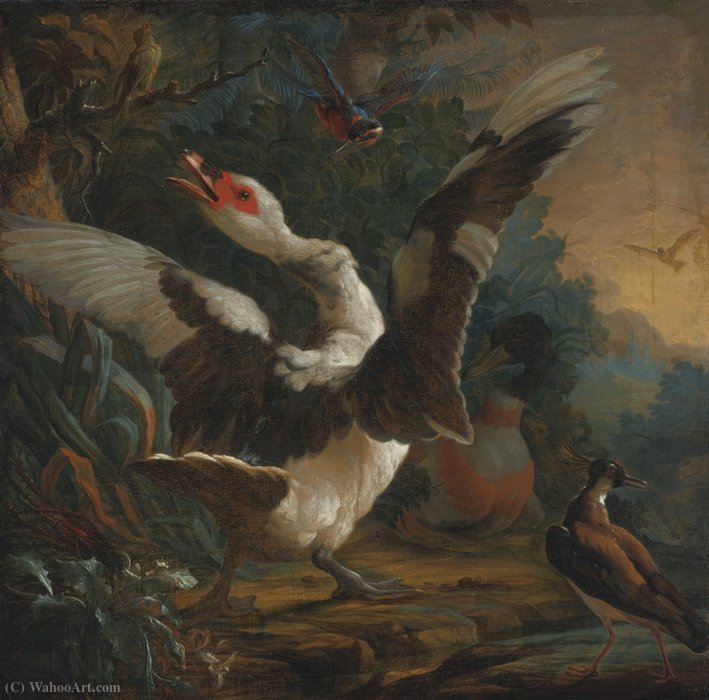A goose, a kingsfisher, and other birds in a landscape by Abraham Bisschop (1670-1729, Netherlands)