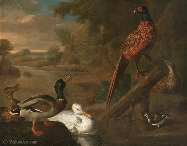 Birds in a landscape by Abraham Bisschop (1670-1729, Netherlands) | Oil Painting | WahooArt.com