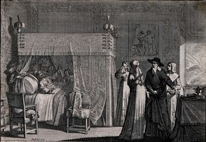 Abraham Bosse - A dying man lies in bed realizing that the doctor cannot cur