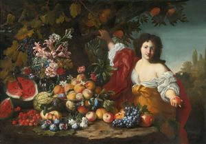 Abraham Brueghel - Still life of fruits and flowers with a figure