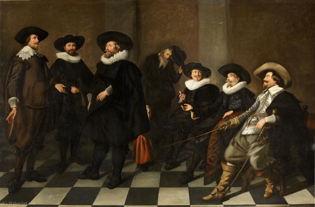 Portrait of the regents of the Amsterdam city orphanage in (1633.) by Abraham De Vries (1590-1662, Netherlands) | Art Reproduction | WahooArt.com