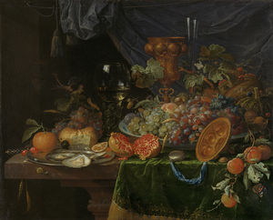 Abraham Mignon (Minjon) - Still life with fruits and oysters